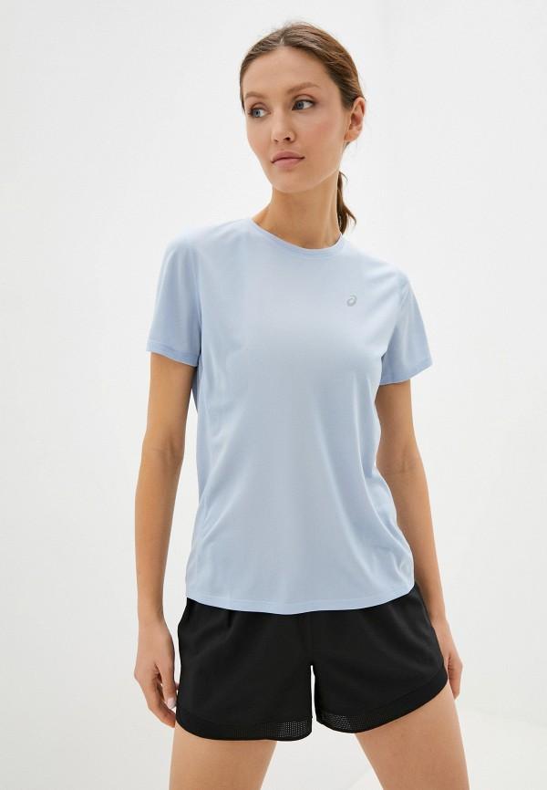 женская спортивные футболка asics, голубая