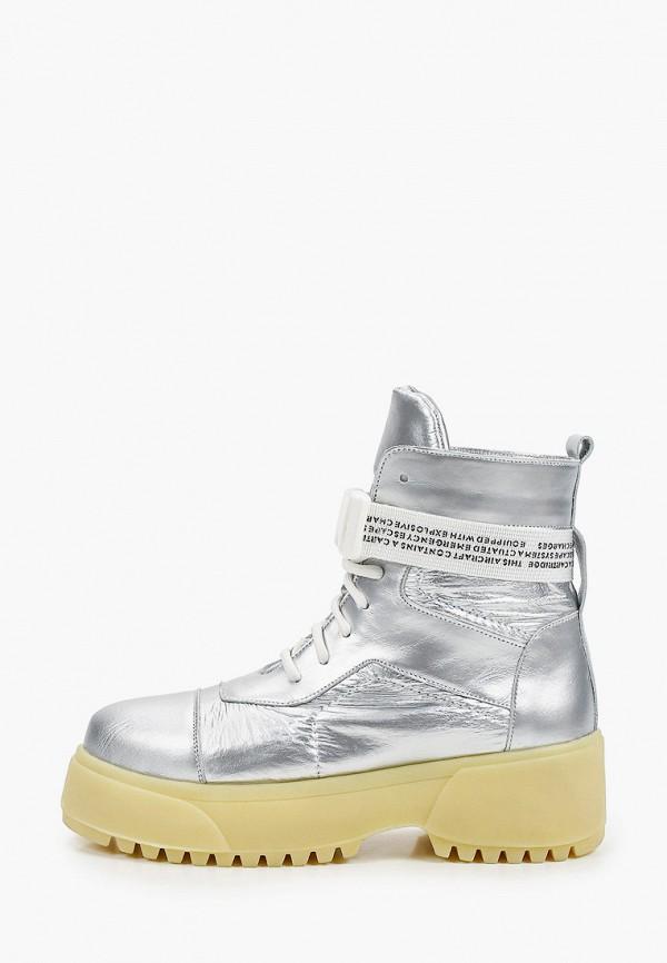 женские высокие ботинки vittorio bravo, серебряные