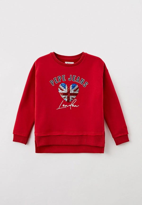 свитшот pepe jeans london для девочки, красный