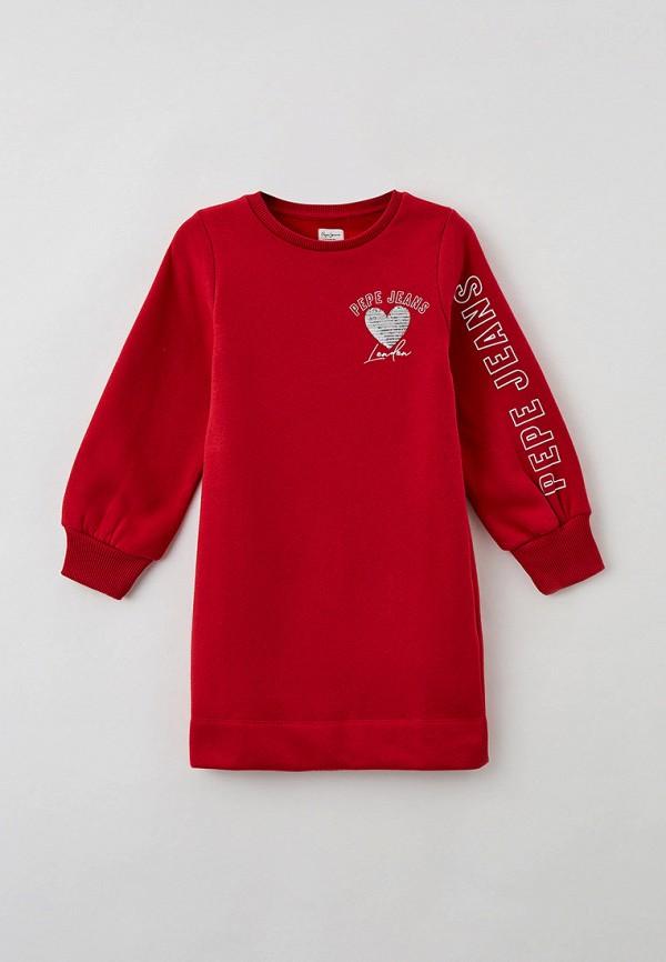 повседневные платье pepe jeans london для девочки, красное