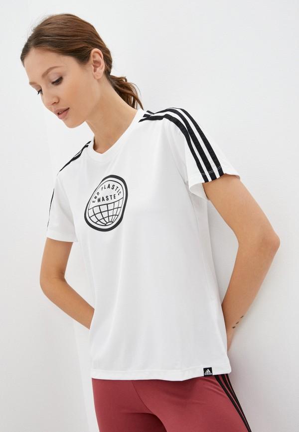 Футболка спортивная adidas белого цвета