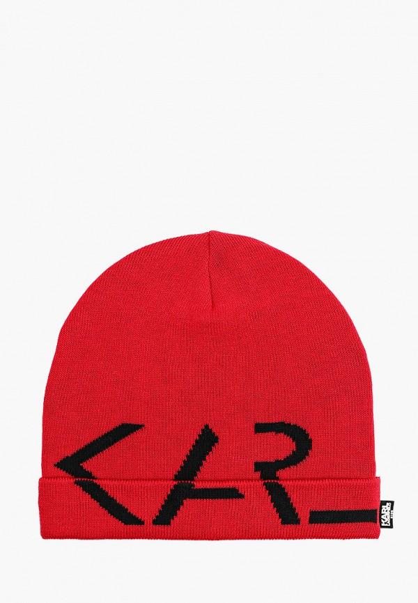 шапка karl lagerfeld kids для девочки, красная