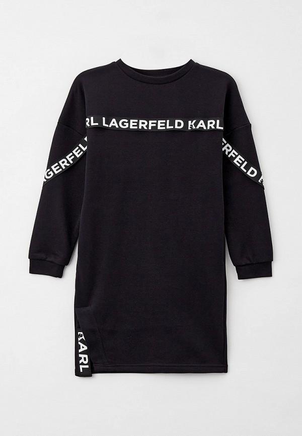 повседневные платье karl lagerfeld kids для девочки, черное