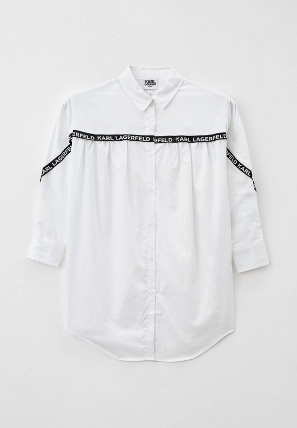 повседневные платье karl lagerfeld kids для девочки, белое
