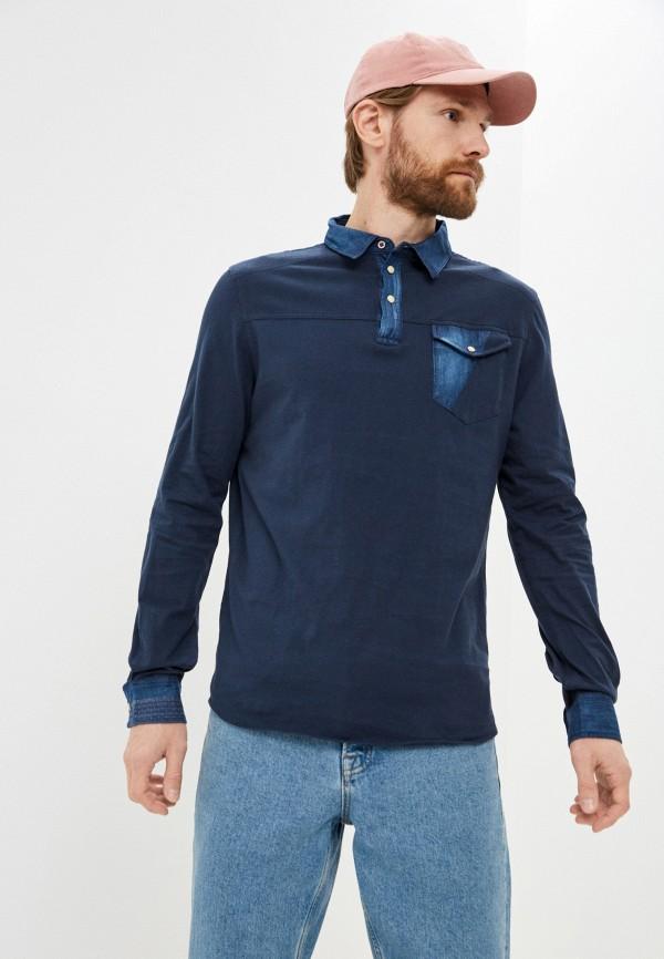мужское поло с длинным рукавом desigual, синее