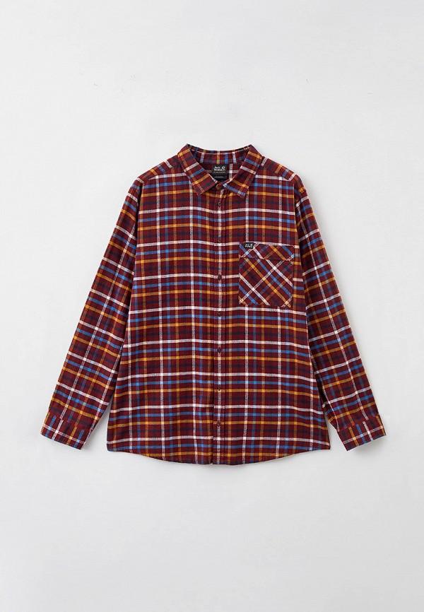 мужская рубашка с длинным рукавом jack wolfskin, бордовая