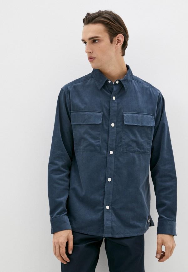 мужская рубашка с длинным рукавом jack wolfskin, синяя