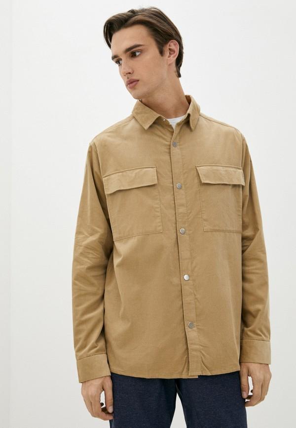 мужская рубашка с длинным рукавом jack wolfskin, бежевая