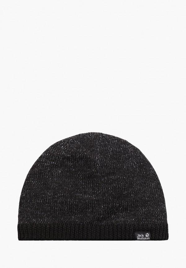 женская шапка jack wolfskin, черная