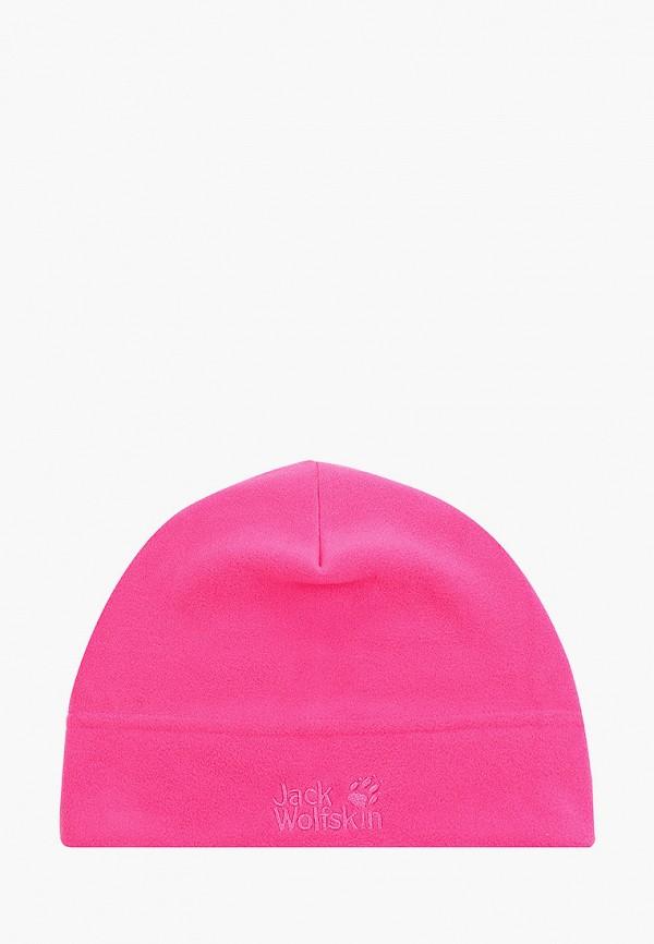 женская шапка jack wolfskin, розовая