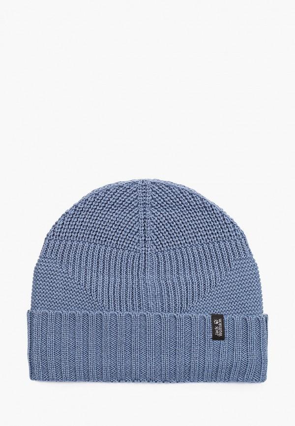 женская шапка jack wolfskin, голубая