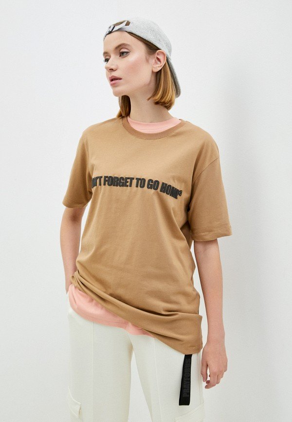 женская футболка pray for us, коричневая
