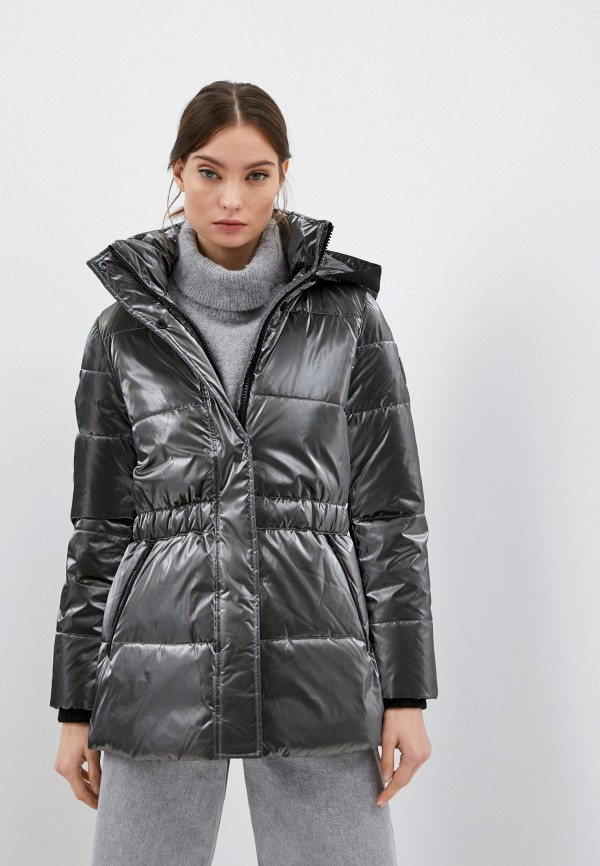 женская утепленные куртка calvin klein, серебряная