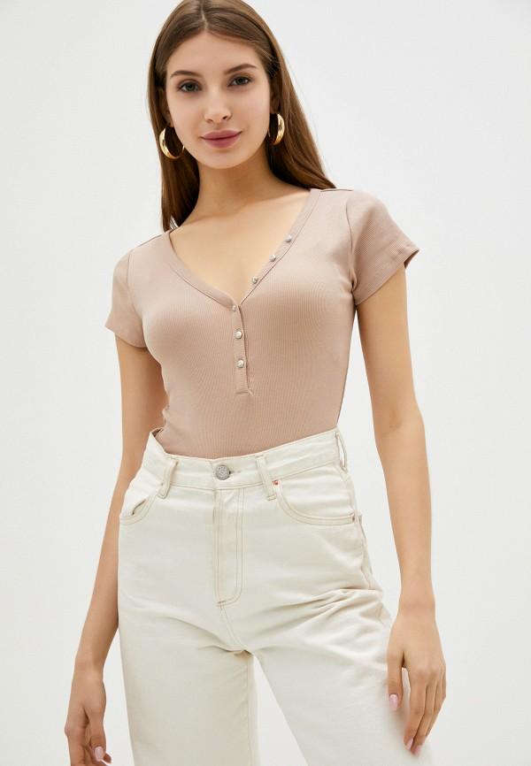 женская футболка guess, коричневая