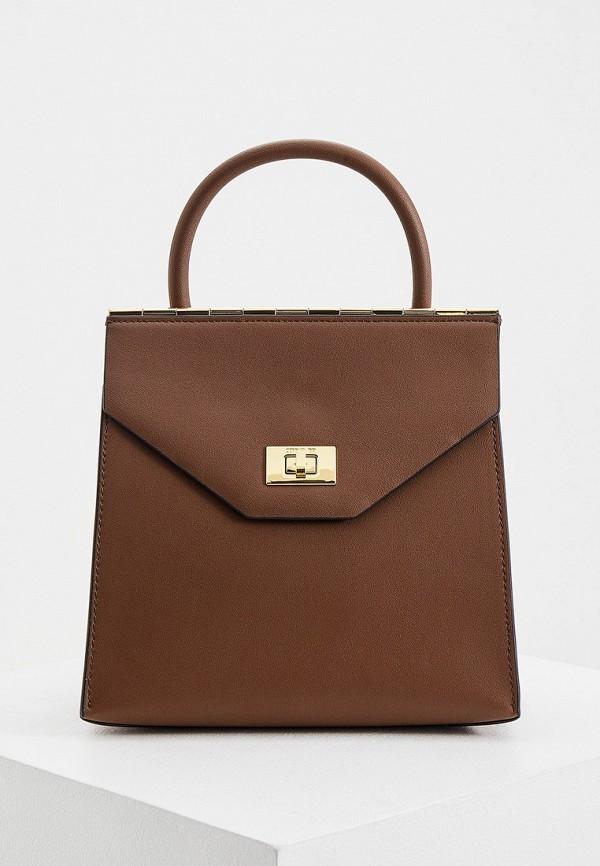 женская сумка с ручками cerruti 1881, коричневая