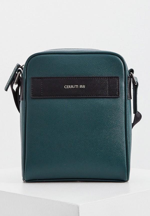 мужская сумка через плечо cerruti 1881, зеленая