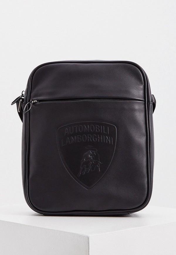 мужская сумка через плечо automobili lamborghini, черная