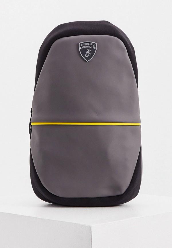 мужская сумка через плечо automobili lamborghini, серая