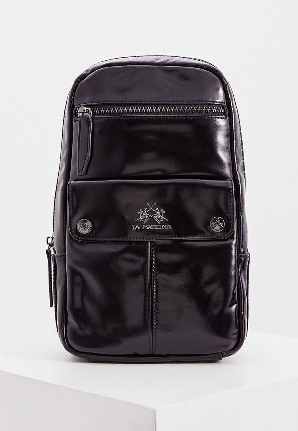 мужская сумка через плечо la martina, черная