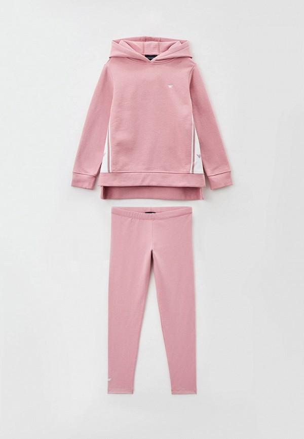 спортивный костюм emporio armani для девочки, розовый