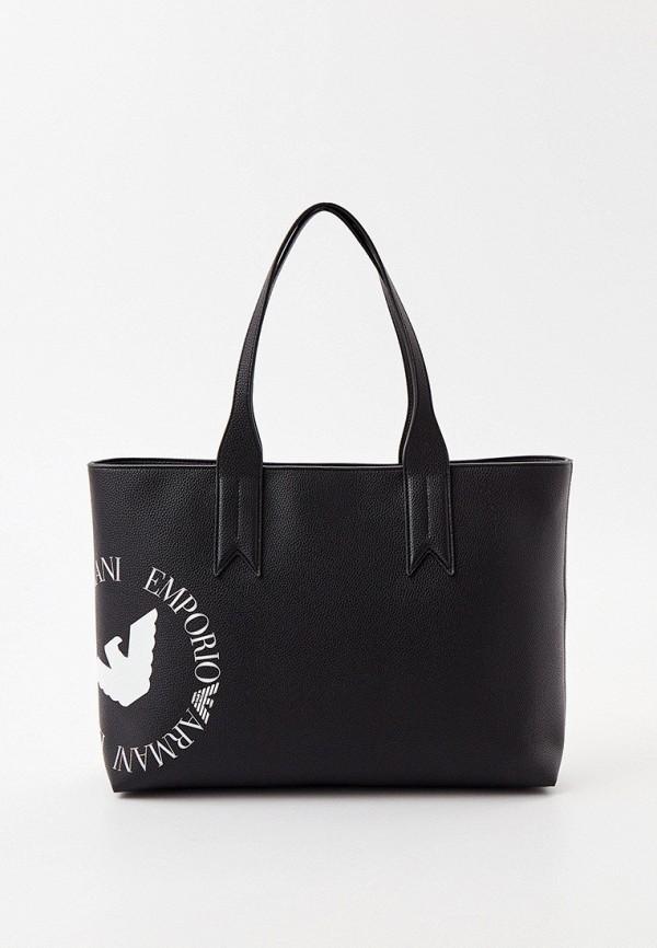 женская сумка-шоперы emporio armani, черная
