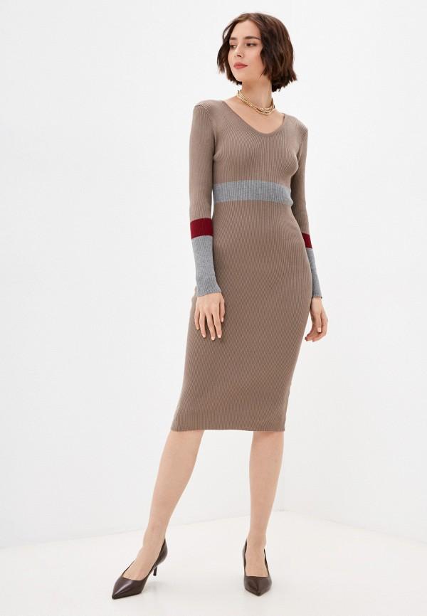 женское платье-свитеры moki, коричневое