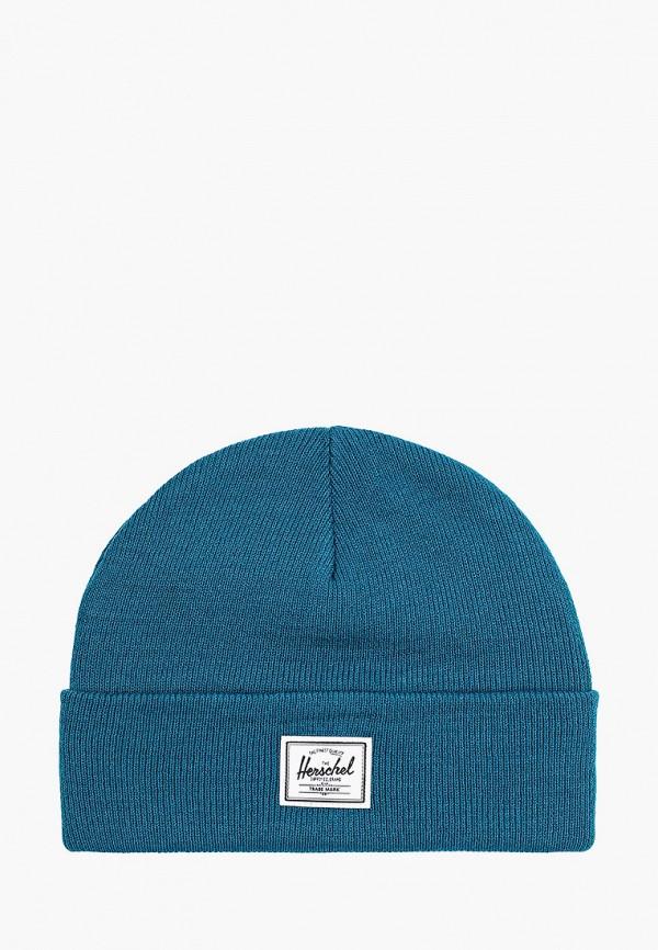 женская шапка herschel supply co, бирюзовая