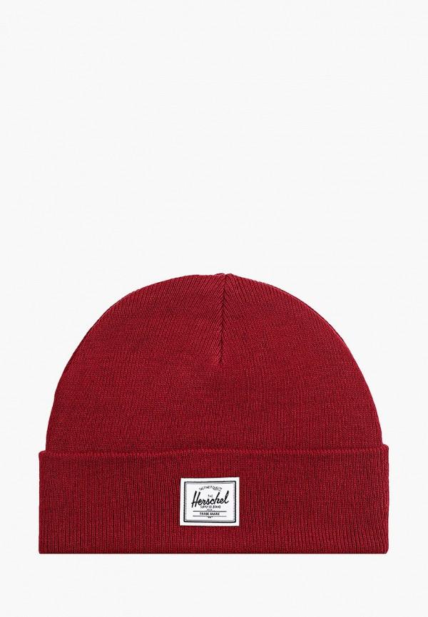 женская шапка herschel supply co, бордовая