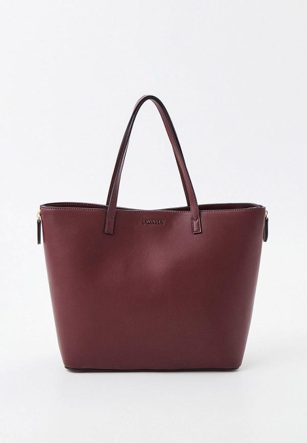 женская сумка с ручками twinset milano, бордовая