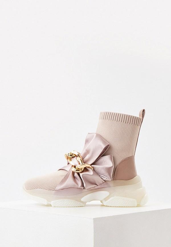 женские высокие кроссовки twinset milano, розовые