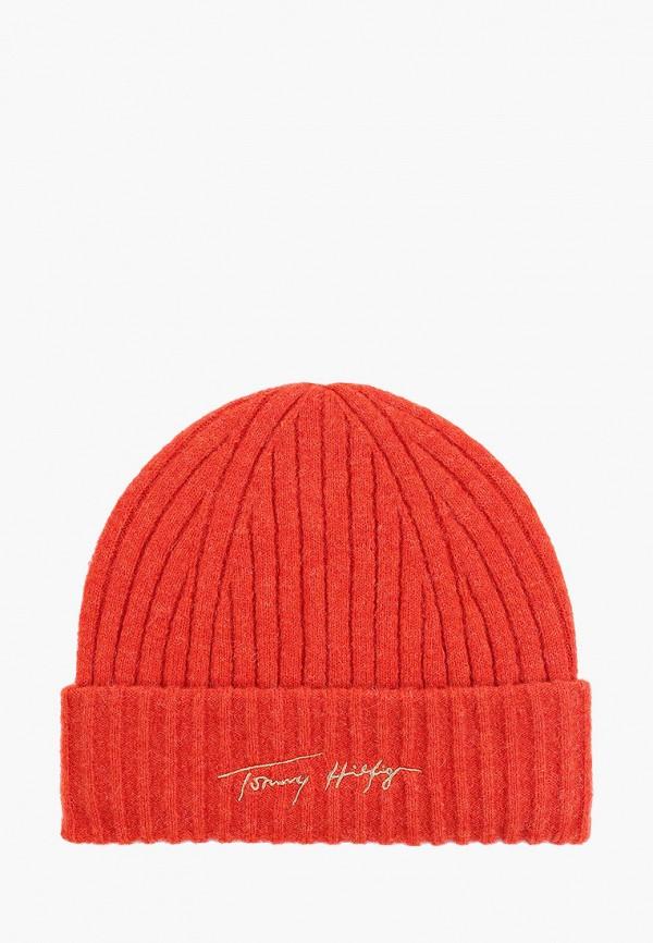Шапка Tommy Hilfiger оранжевого цвета