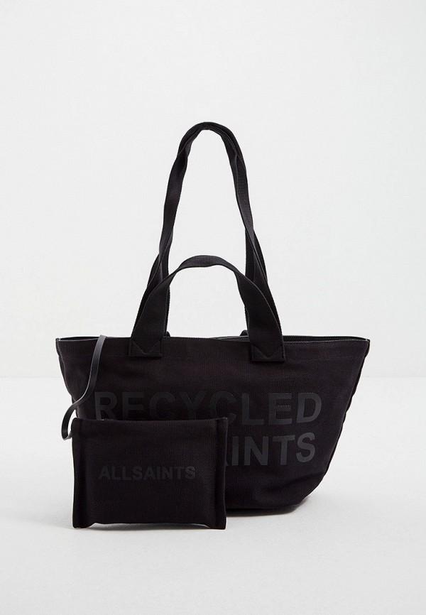 женский кошелёк с ручками allsaints, черный