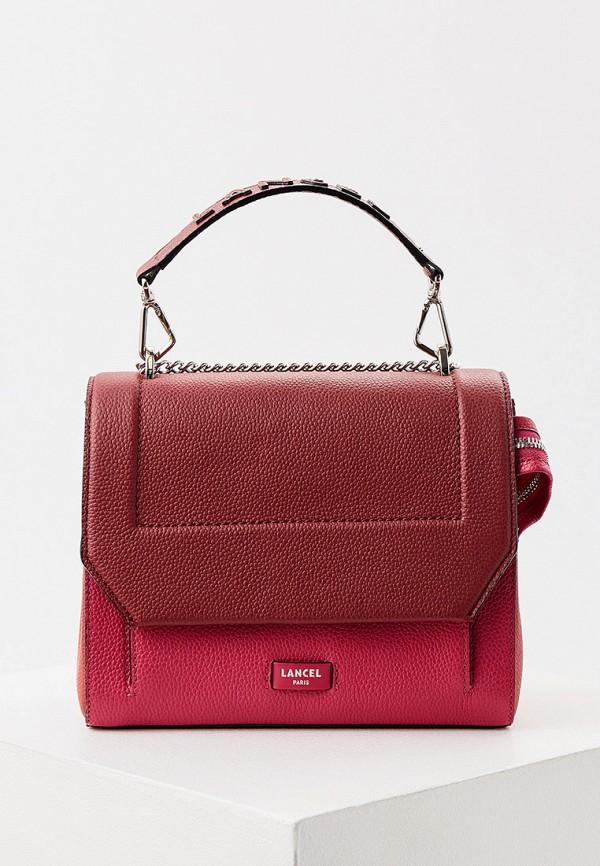 женская сумка с ручками lancel, бордовая