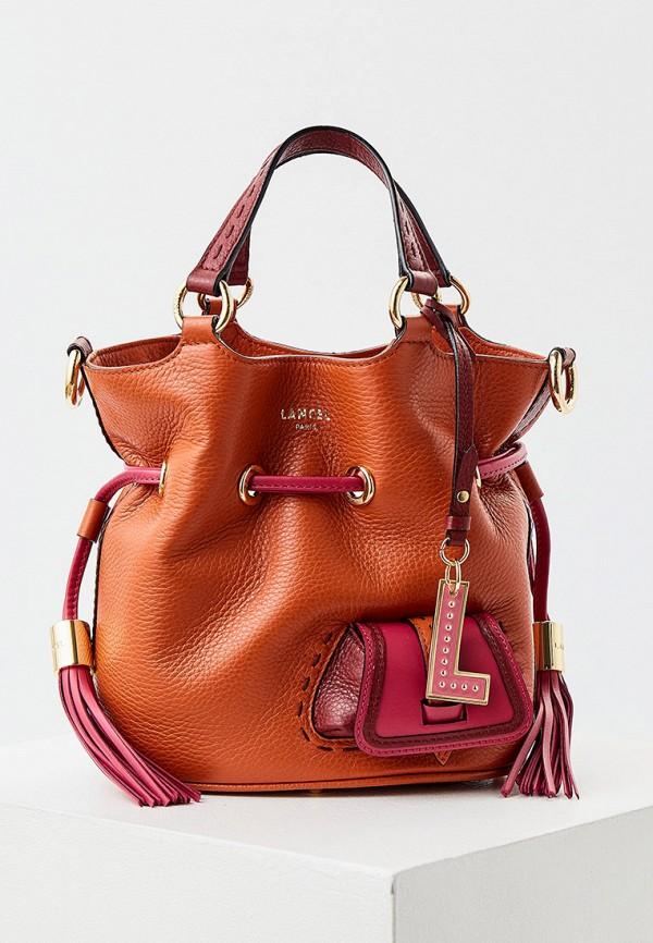 женская сумка с ручками lancel, оранжевая