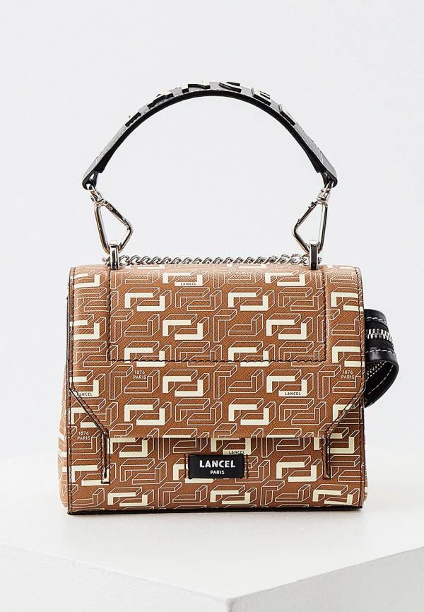 женская сумка через плечо lancel, бежевая
