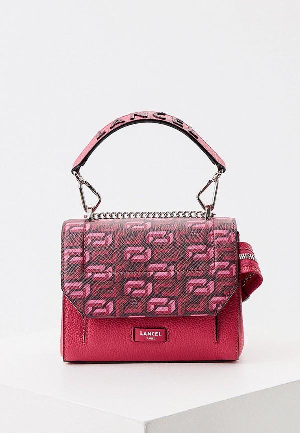 женская сумка с ручками lancel, розовая