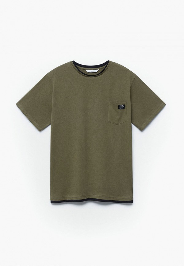 футболка с коротким рукавом mango kids для мальчика, хаки