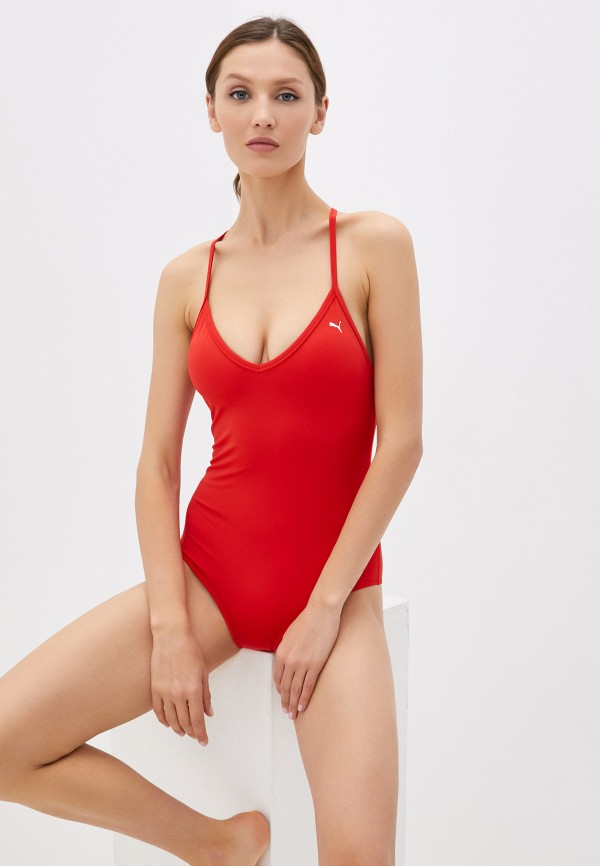 женский купальник puma, красный