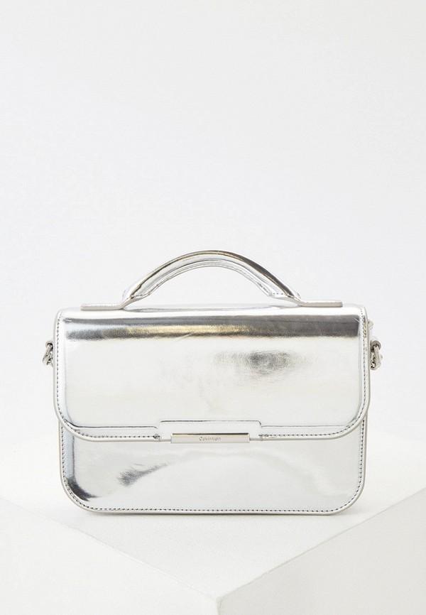 женская сумка с ручками calvin klein, серебряная