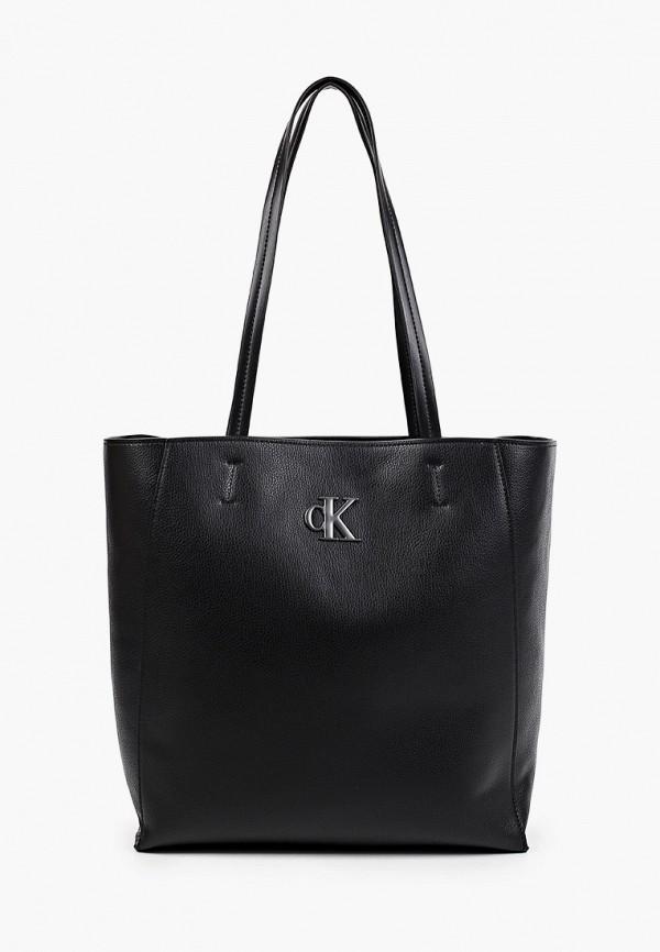 женская сумка с ручками calvin klein, черная