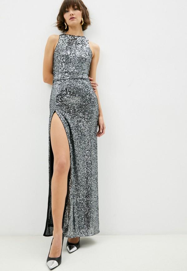 женское вечерние платье pinko, серебряное
