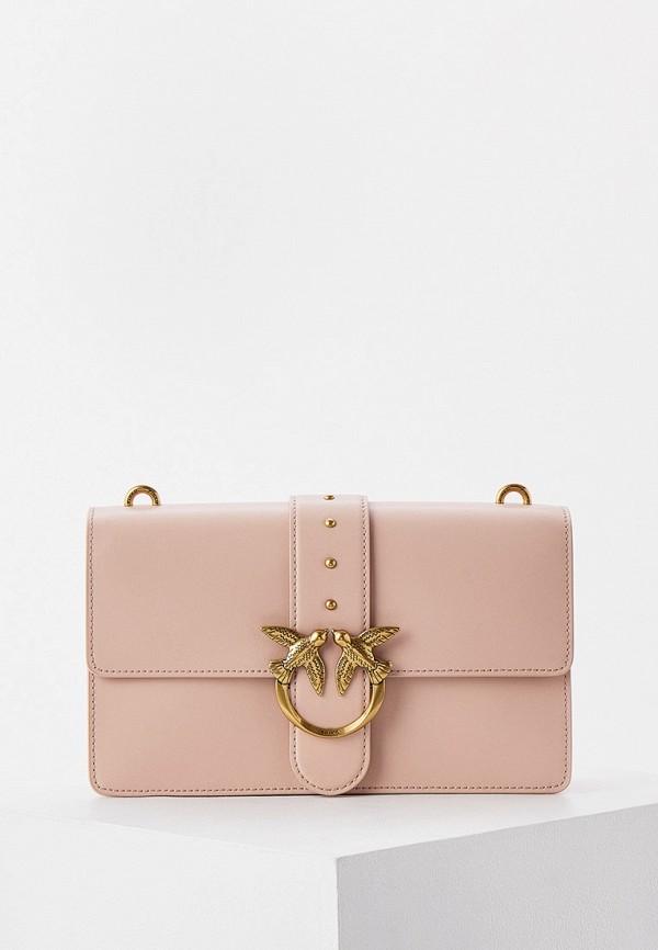 женская сумка с ручками pinko, розовая