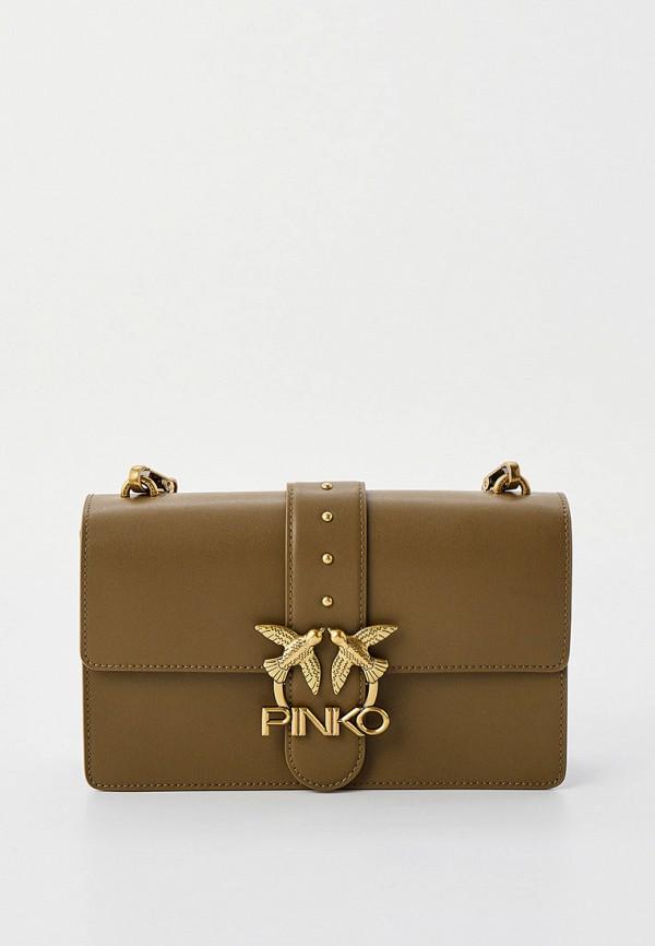 женская сумка через плечо pinko, хаки