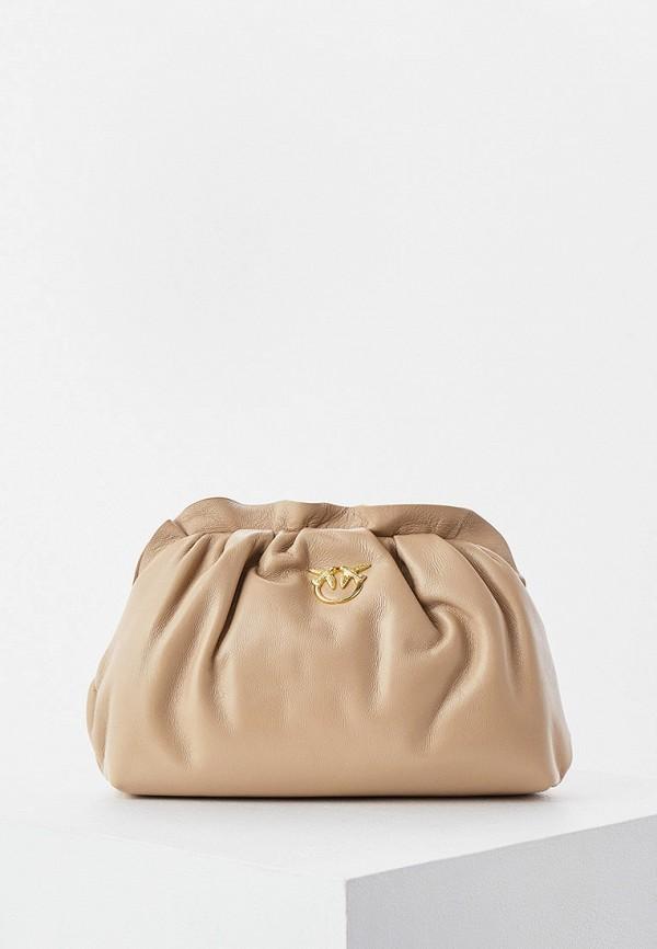 женская сумка через плечо pinko, бежевая