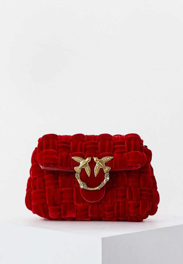 женская сумка через плечо pinko, красная