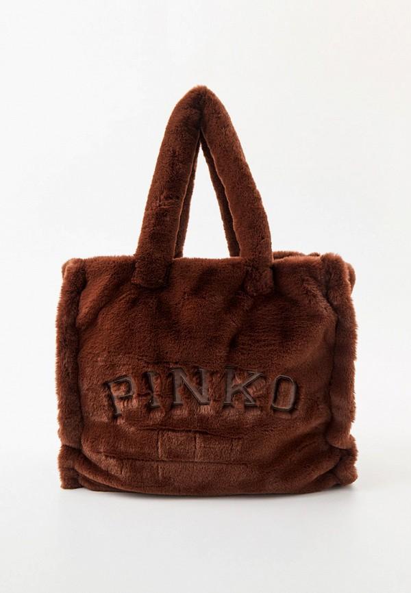женская сумка-шоперы pinko, коричневая
