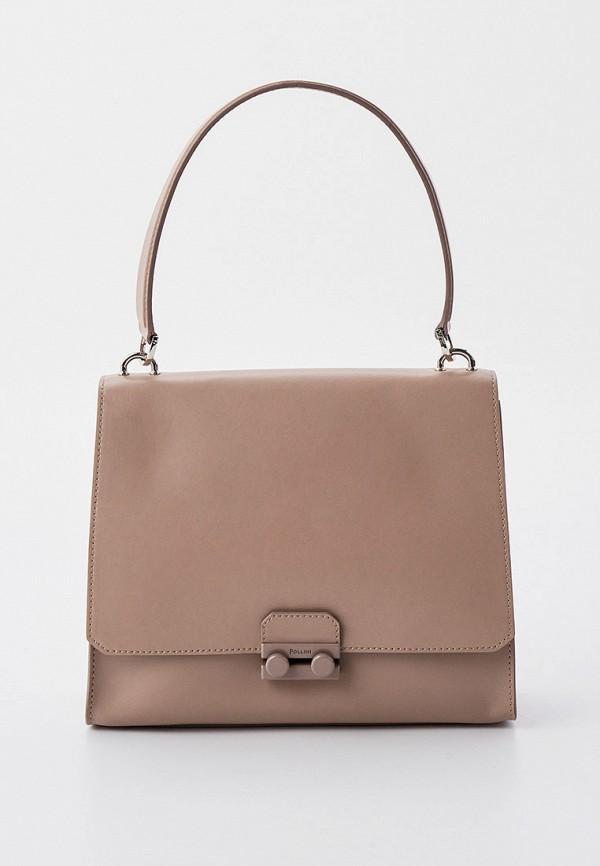 женская сумка с ручками pollini, розовая