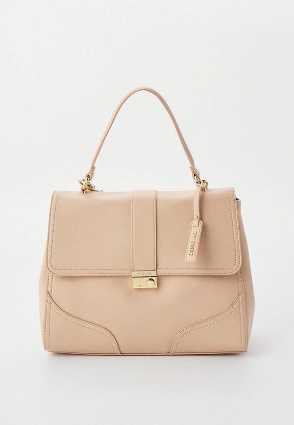 женская сумка с ручками twinset milano, бежевая