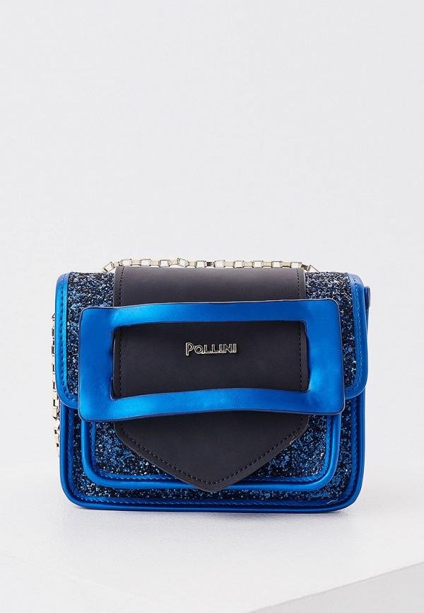 женская сумка через плечо pollini, синяя