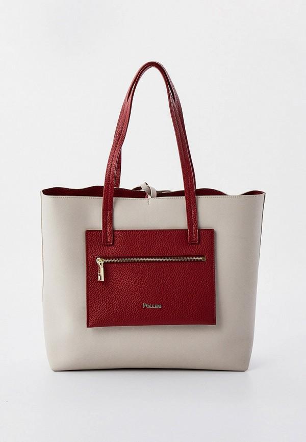 женская сумка с ручками pollini, серая